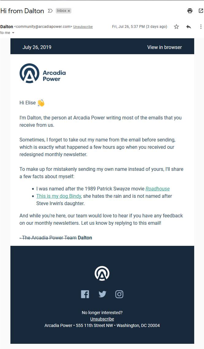 creative recovery email from Arcadia power