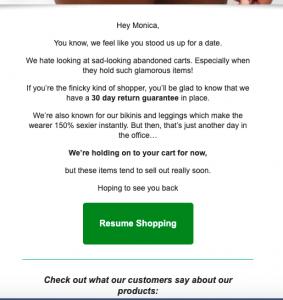 cart abandon flow email